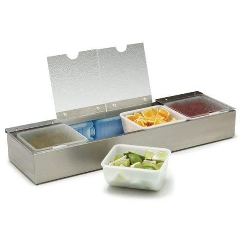 Carlisle 38704CSIB Stainless Steel Four-Quart Insulated Condiment Caddy with Four Lids, 25-1/8