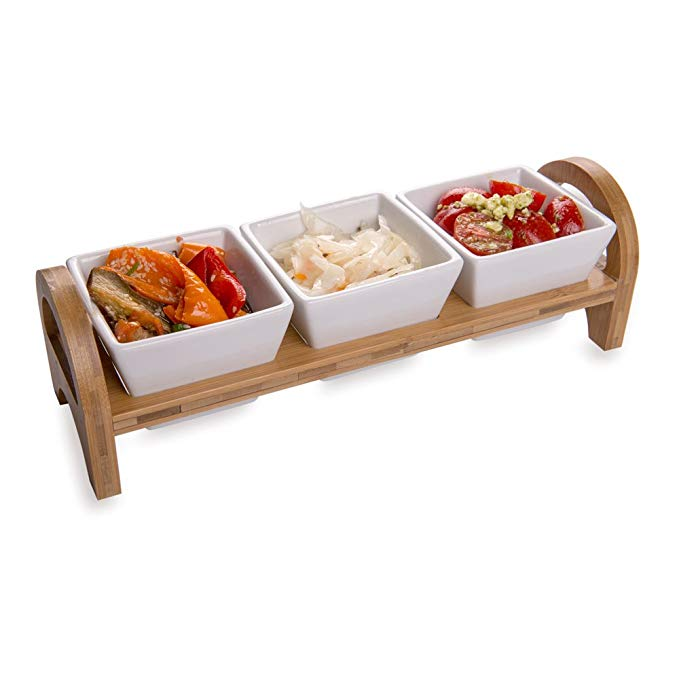 Triple Mini Porcelain Bowl Serving Set - 21 Ounce - Elegant Square White Porcelain Bowls with Bamboo Tray: Perfect for Tastings, Catered Events, and Buffets - 1ct Box