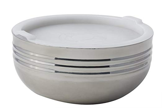 Bon Chef 9319 Stainless Steel 3 Wall Cold Wave Bowl with Stacking Cover, 3.4 quart Capacity, 9-7/8