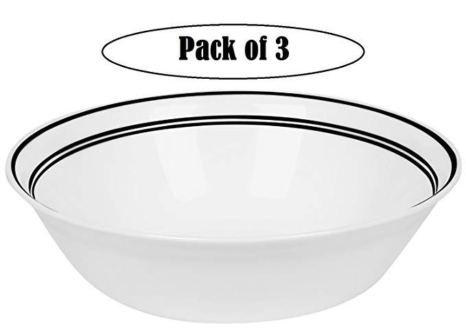 Corelle Livingware 1-Quart Serving Bowl,Classic Caf Black, Pack of 3