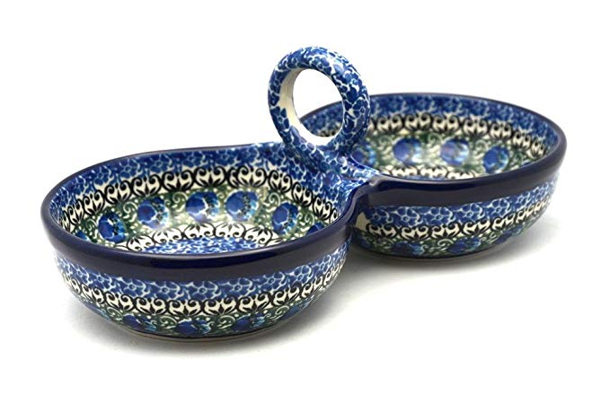 Polish Pottery Bowl - Double Serving - Peacock Feather