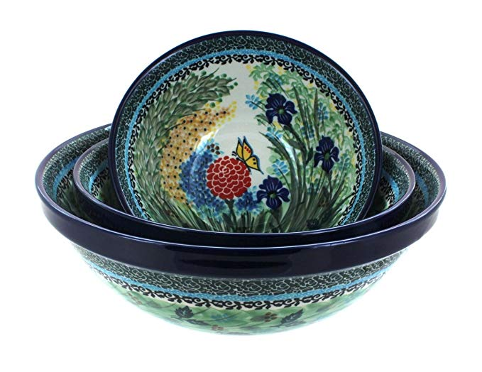 Polish Pottery Teresa 3 Piece Serving Bowl Set