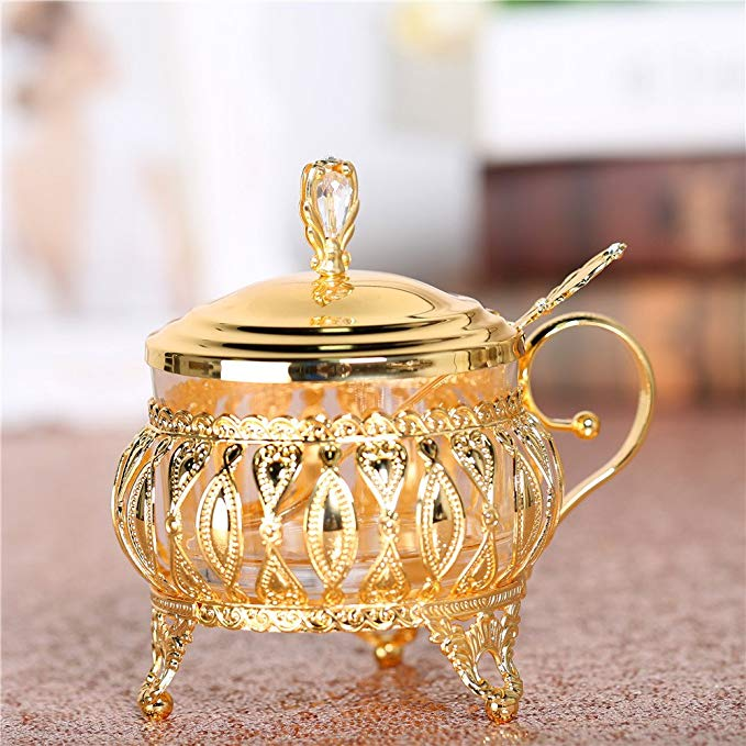 Glass Liner Condiment Pot with Lids and Spoons, Seasoning Container Sugar Bowl Berry Jam Spice Jar Cup with Golden Stainless Steel Holders for Syrup Cream Salt
