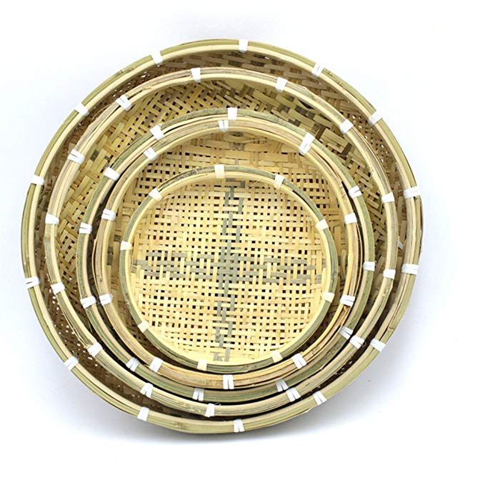 Characteristics of Bamboo Weaving By Hand Bamboo Sieve Bamboo Basket Basket Bamboo Basket Bamboo Fruit Basket 3pc