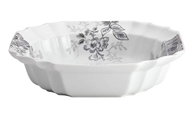 BonJour Dinnerware Shaded Garden 10-1/2-Inch Porcelain Serving Bowl, Slate