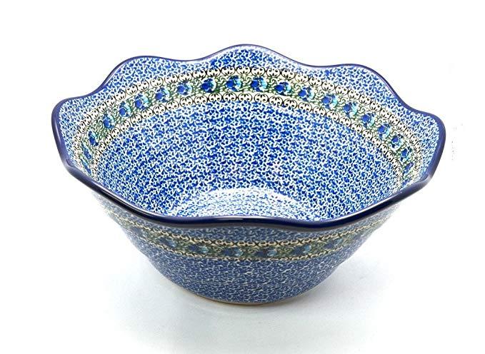 Polish Pottery Bowl - Curvy Edge - 12
