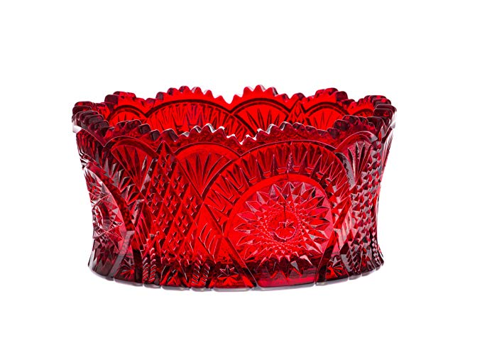 Ruby Red Diamond Classic Nappy Centerpiece Bowl