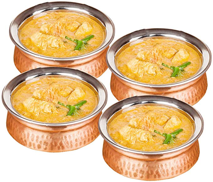 13.5-oz Copper Serving Bowl Cereal, Dessert, Soup, Salad, Pasta, Snack and Dip Bowls, Set of 4, Brown