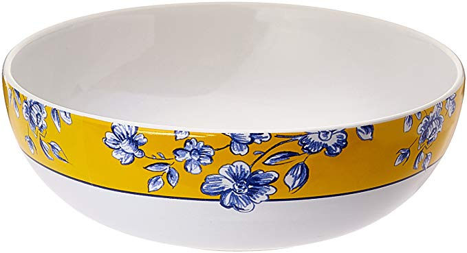 Paula Deen Dinnerware 10-Inch Porcelain Stoneware 10-Inch Round Serving Bowl, Spring Prelude