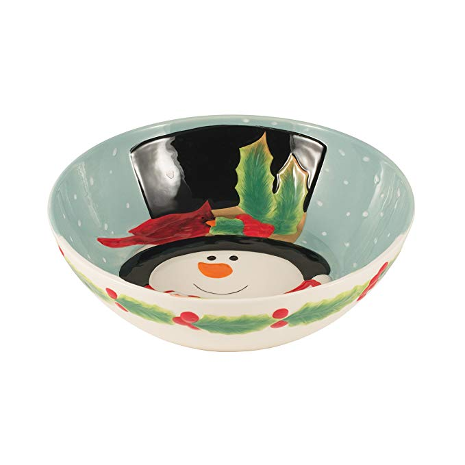 Holly Berry Snowman Collection, Serving Bowl, Red/White
