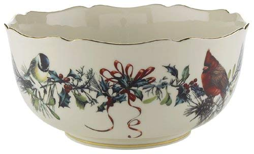 Lenox Winter Greetings Scenic Gold-Banded Fine China Serving Bowl