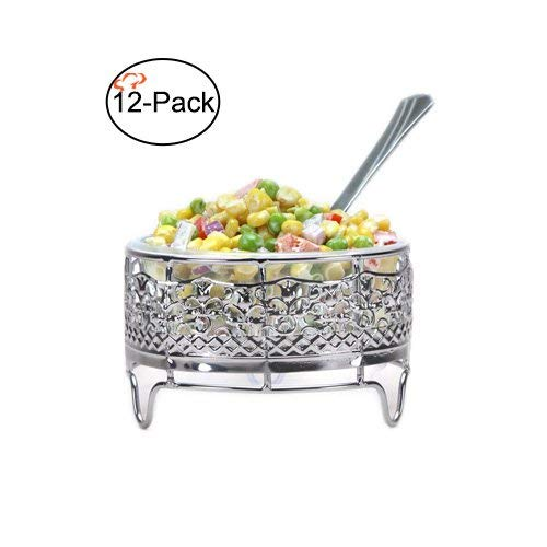 Tiger Chef 12-Pack Silver Decorative Ornate Deli Container Holders, Fits 8-ounce Deli Containers (12, 8-Ounce Silver)