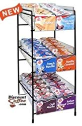 Coffee-mate Creamer 3 -Tier Display Counter Rack Filled with 6 Flavors of Coffee-mate Creamer Tubs (160 Tubs)