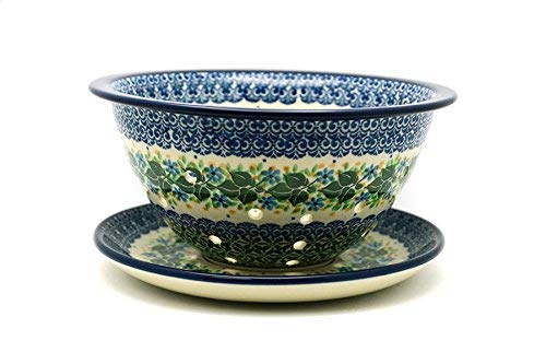 Polish Pottery Berry Bowl with Saucer - Ivy Trail