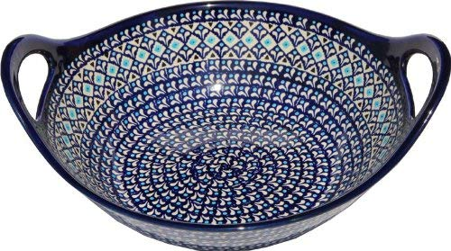 Polish Pottery Bowl with Handles From Zaklady Ceramiczne Boleslawiec #1347-217a Classic Pattern, Diameter: 12