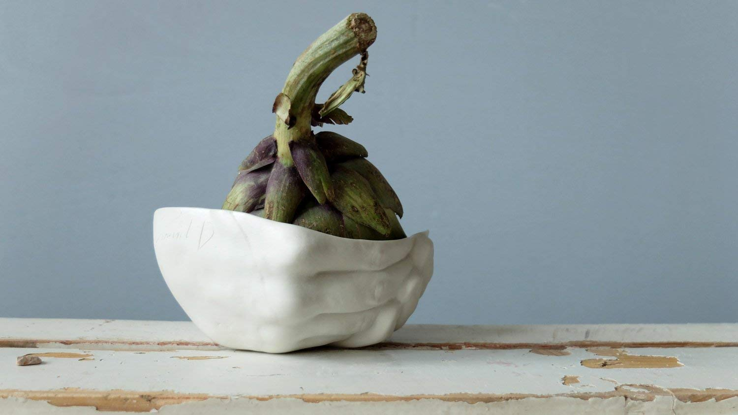 White porcelain hand sculpture small bowl for fruit, candy, dessert and a cute gift by SinD studio