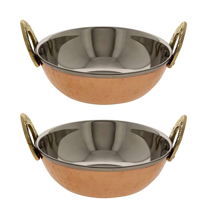AVS STORE Serving Bowl Copper and Steel Karahi Indian Food Serveware Set of 2