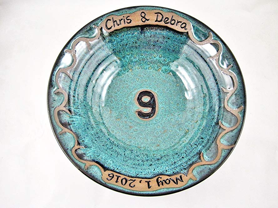 Personalized 9th Pottery Anniversary Gift, Customized Ceramic Bowl With Names and Date