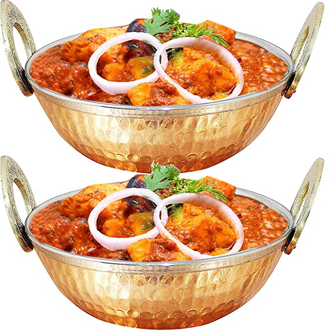Copper Stainless Steel Serving Bowl 33.8-oz, Small Party Snack, Salad, Cereal Bowl Karahi, Set of 2, Brown