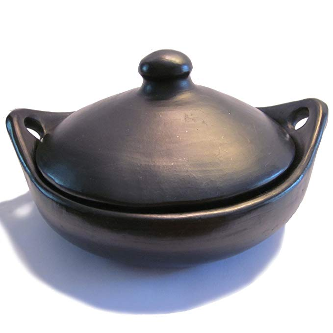 Ancient Cookware Black Clay, La Chamba Round Serving Dish with Handles and Lid