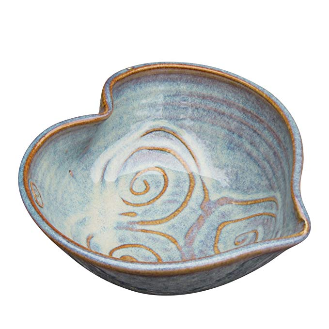 Small Irish Pottery Serving Bowl Hand-Glazed Hand-Thrown in Ireland. Original Heart Shaped Design 6 Diameter by 2 Height with Celtic Spiral Motif