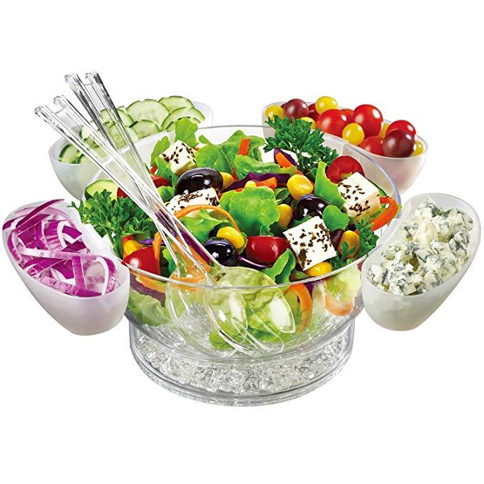 Jumbl Serve Chilled Bowl Set | Floating Salad Cups | Serving Spoon & Fork