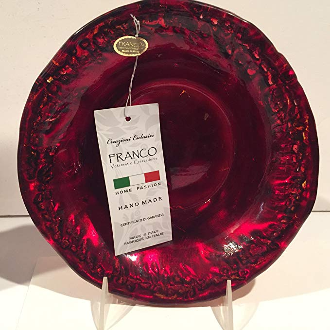 Franco Vetrerie E Cristallerie Unique Handcrafted Red & Gold Art Glass Bowl Italy 8 3/4