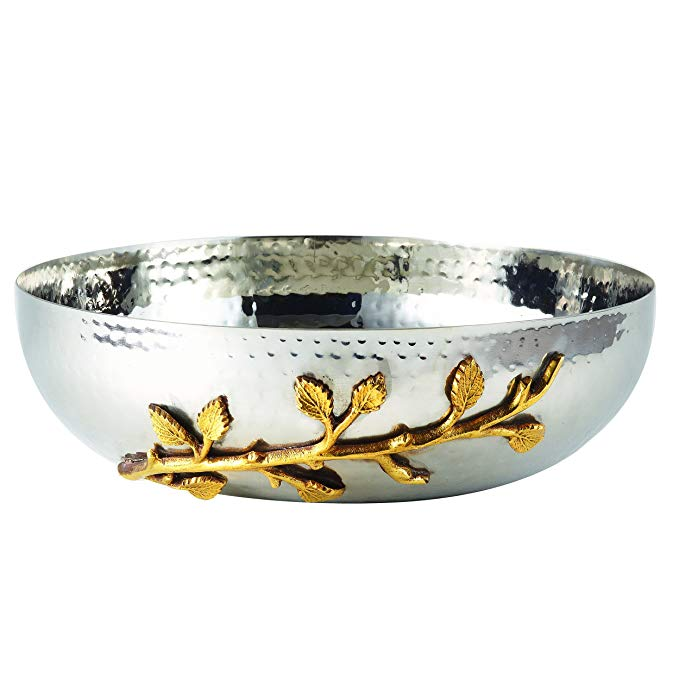 Elegance 70021 Golden Vine Hammered Salad Bowl, 10